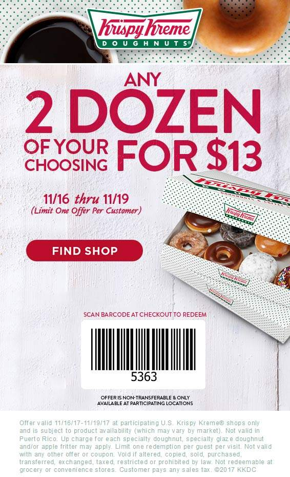 krispy kreme coupons free dozen november 2019