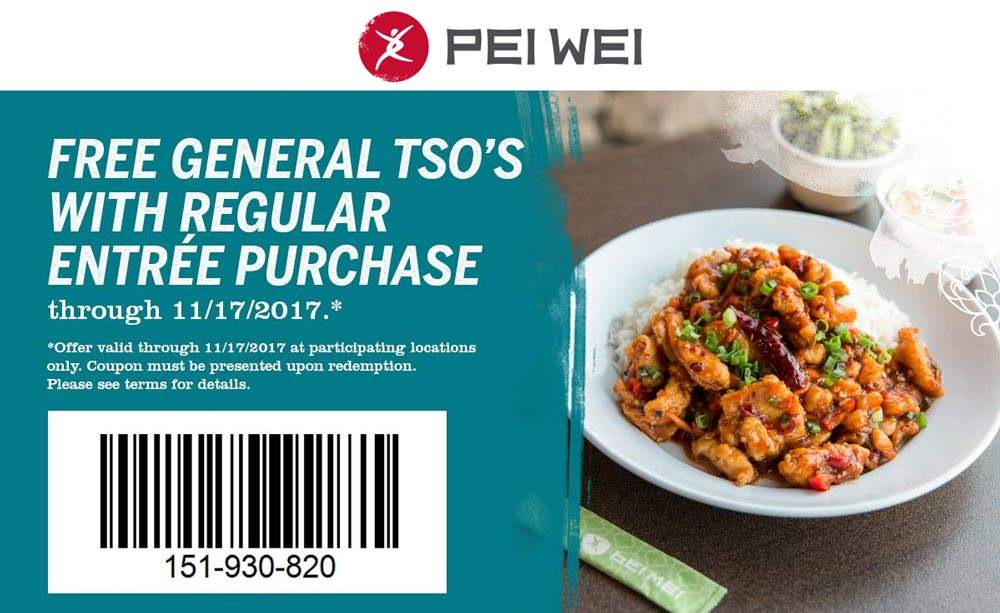 Pei Wei Coupon July 2020 Free General Tso with your entree today at Pei Wei