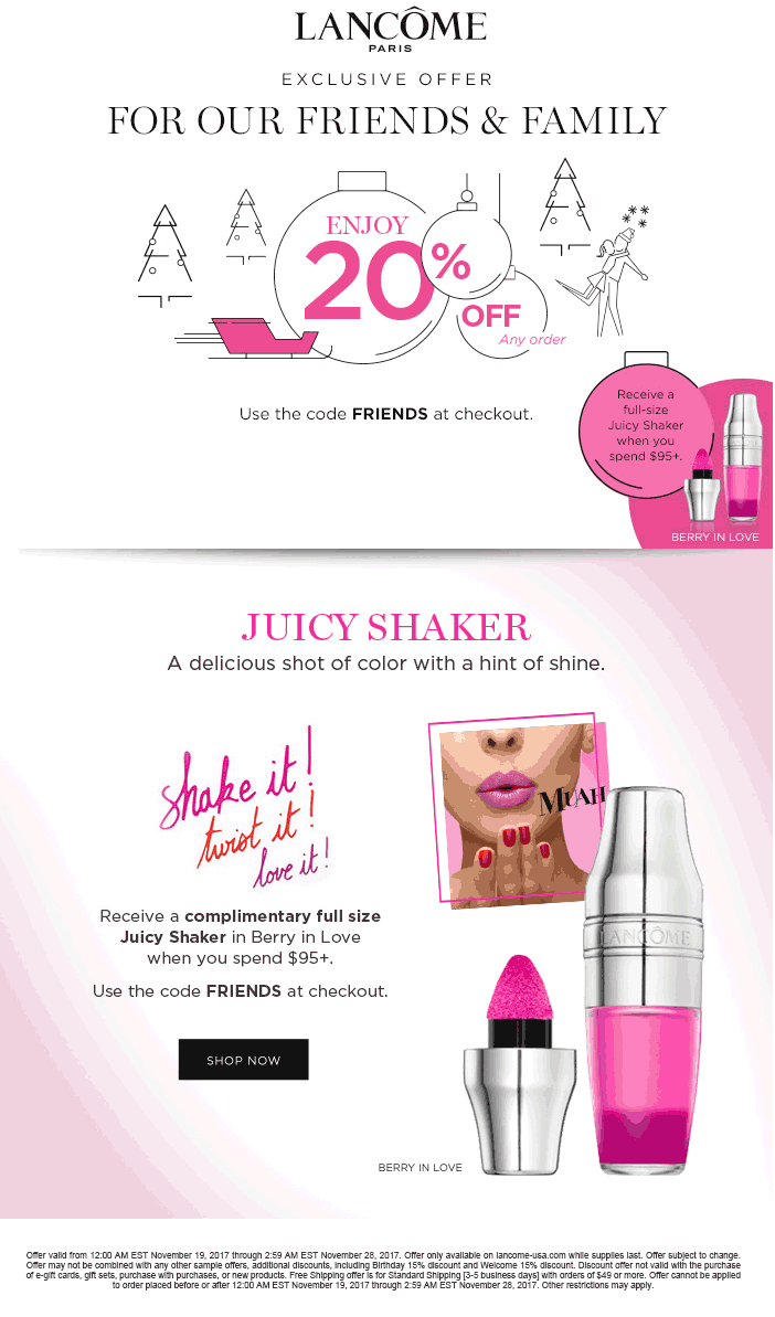 Active Lancome Discount Codes & Offers 12222
