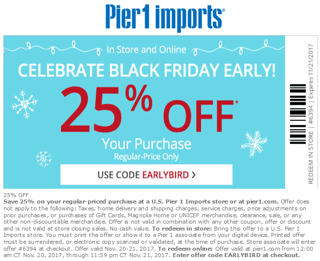 Pier 1 November 2020 Coupons And Promo Codes