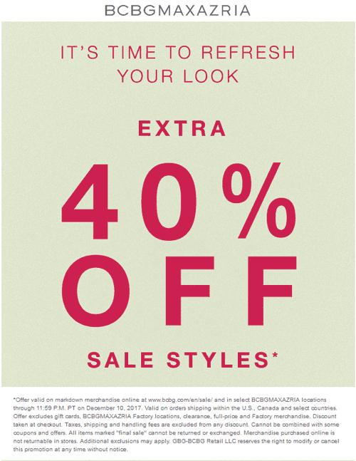BCBGMAXAZRIA Coupon February 2020 Extra 40% off sale items at BCBGMAXAZRIA, ditto online