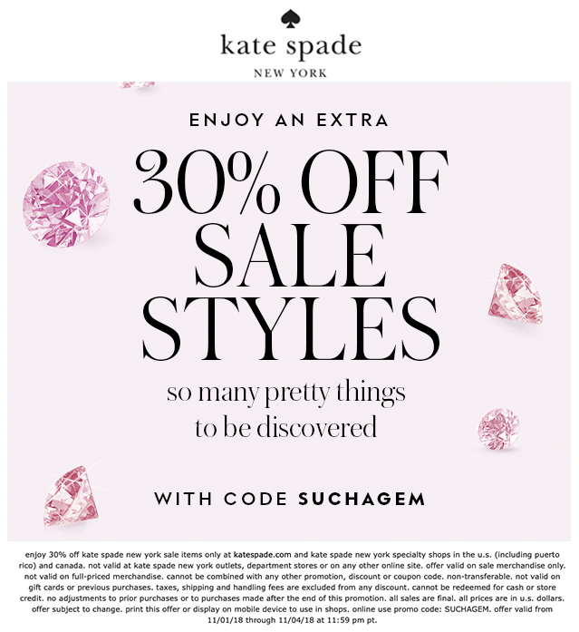 Kate Spade Coupon February 2020 Extra 30% off sale items today at Kate Spade, or online via promo code SUCHAGEM
