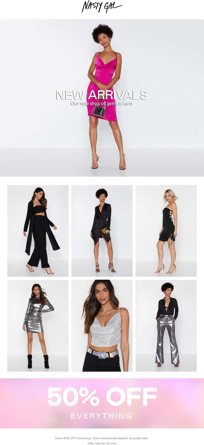 Nasty Gal Coupon July 2020 50% off everything at Nasty Gal, ditto online