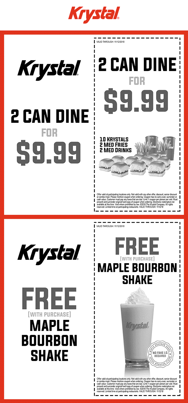 Krystal Coupon August 2020 Free shake with your order at Krystal restaurants