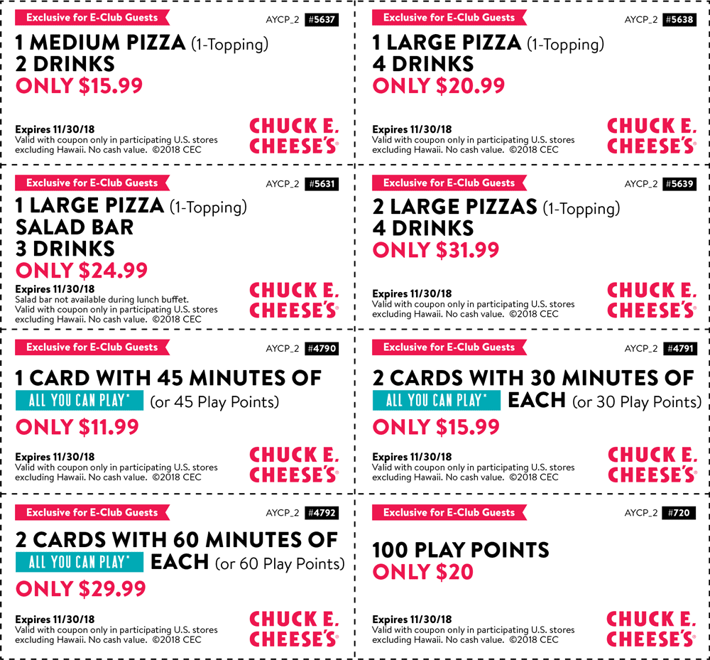 Chuck E. Cheese Coupon August 2020 100 gameplay points for $20 & more at Chuck E. Cheese pizza