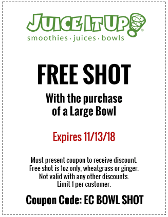 Juice It Up Coupon August 2020 Free shot with your bowl at Juice It Up