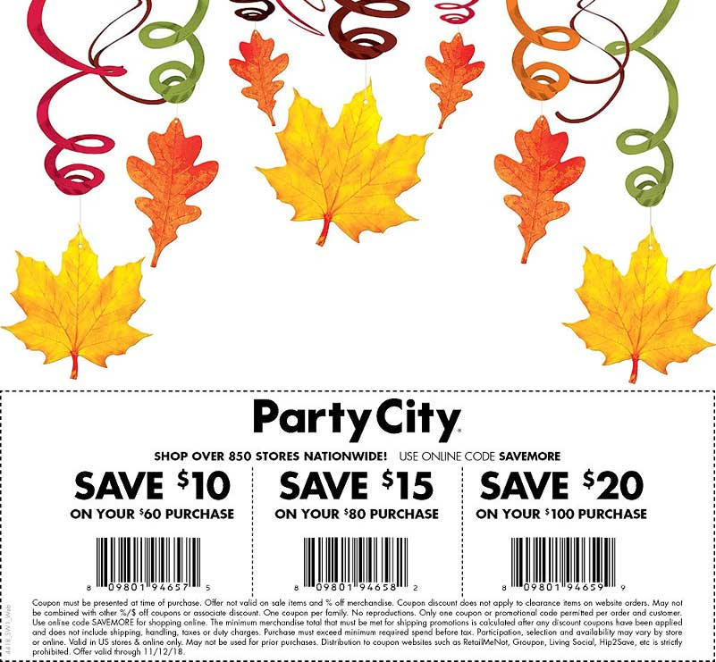 Party City Coupon August 2020 $10 off $60 & more at Party City, or online via promo code SAVEMORE