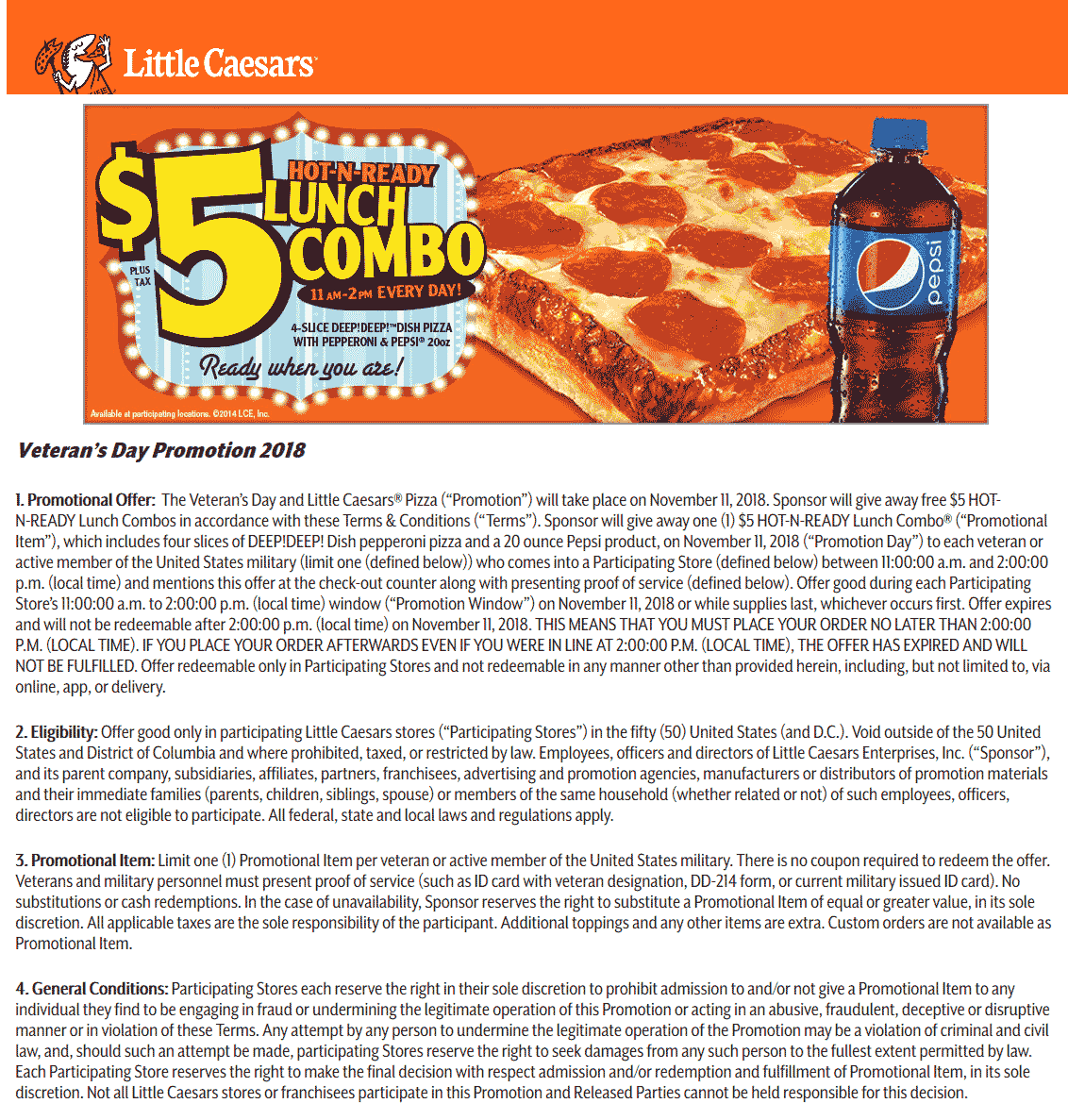 Little Caesars Coupon August 2020 Veterans enjoy a free pizza combo meal Sunday at Little Caesars