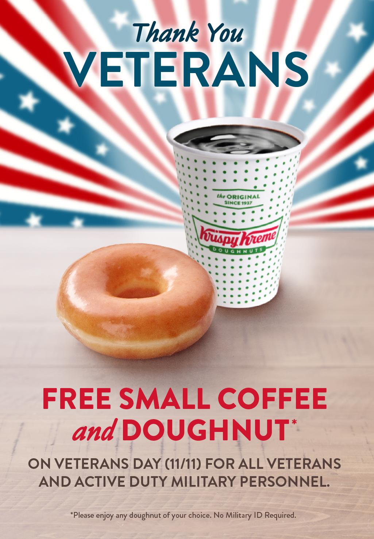 Krispy Kreme Coupon August 2020 Veterans enjoy a free coffee & doughnut today at Krispy Kreme