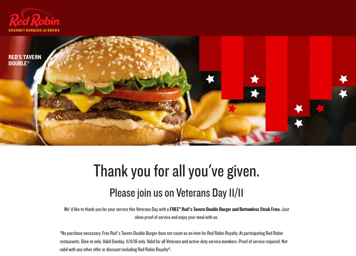 Red Robin Coupon August 2020 Veterans enjoy a free double cheeseburger + bottomless fries today at Red Robin