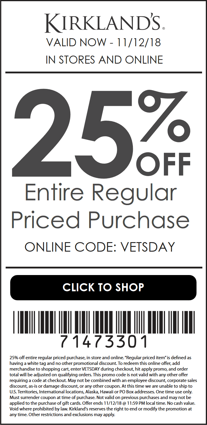 Kirklands Coupon August 2020 25% off today at Kirklands, or online via promo code VETSDAY