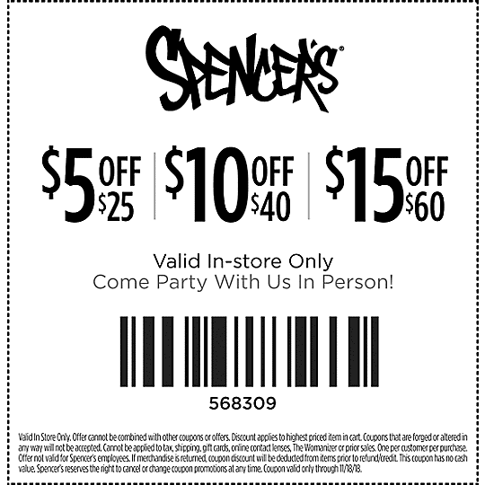 Spencers Coupon August 2020 $5 off $25 & more at Spencers