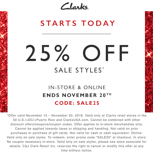 Clarks Coupon August 2020 25% off sale items at Clarks, or online via promo code SALE25