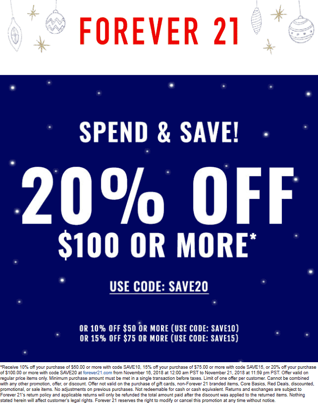 Forever 21 Coupon February 2020 10-20% off $50+ online at Forever 21 via promo code SAVE10