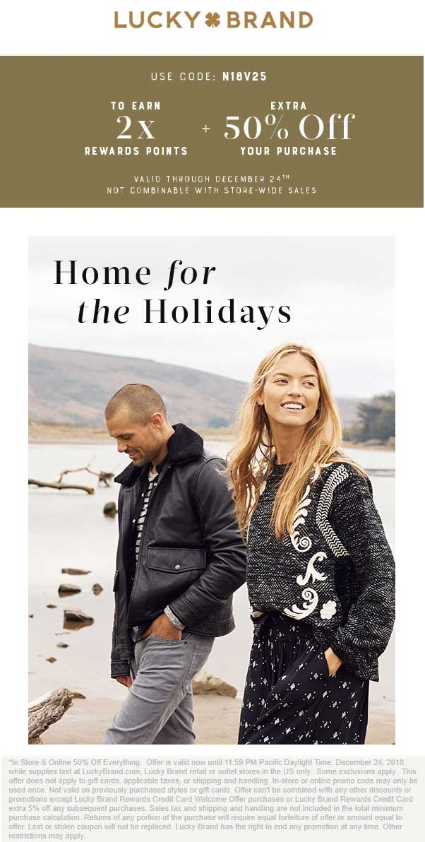 Lucky Brand Coupon August 2020 50% off everything at Lucky Brand, ditto online