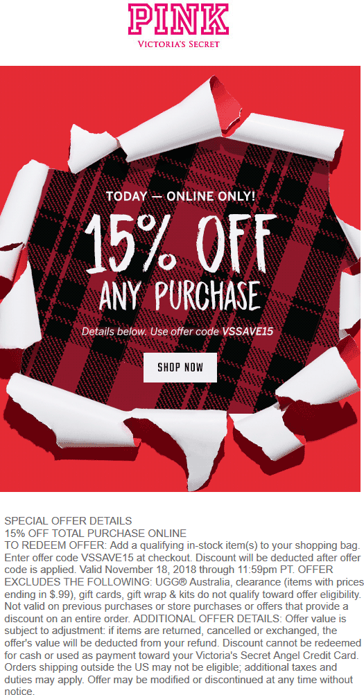 Victorias Secret Coupon August 2020 15% off online today at Victorias Secret Pink via promo code VSSAVE15