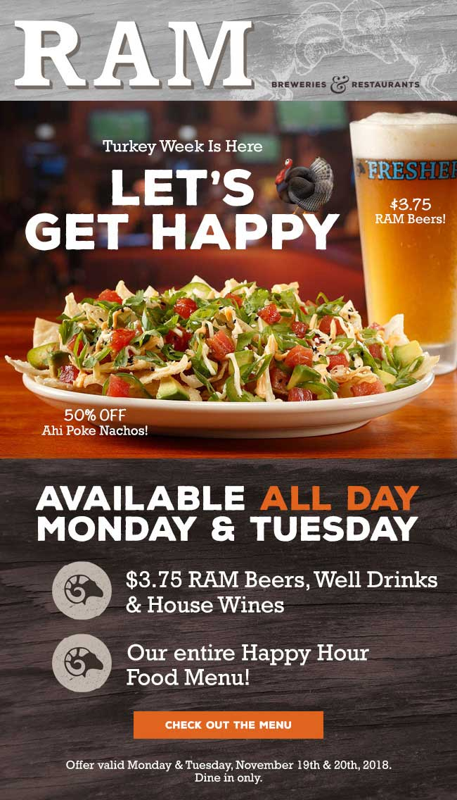 RAM Coupon August 2020 Happy hour food prices all day at Ram restaurants & breweries