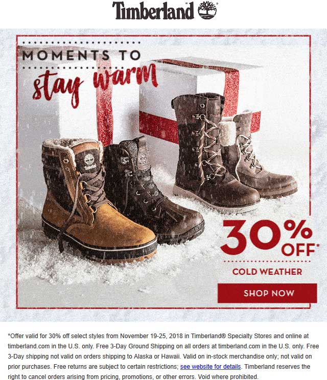 Timberland Coupon August 2020 30% off cold weather at Timberland, ditto online