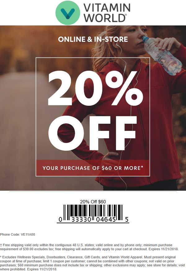 Vitamin World Coupon August 2020 20% off $60 at Vitamin World, or online via promo code VE11A08