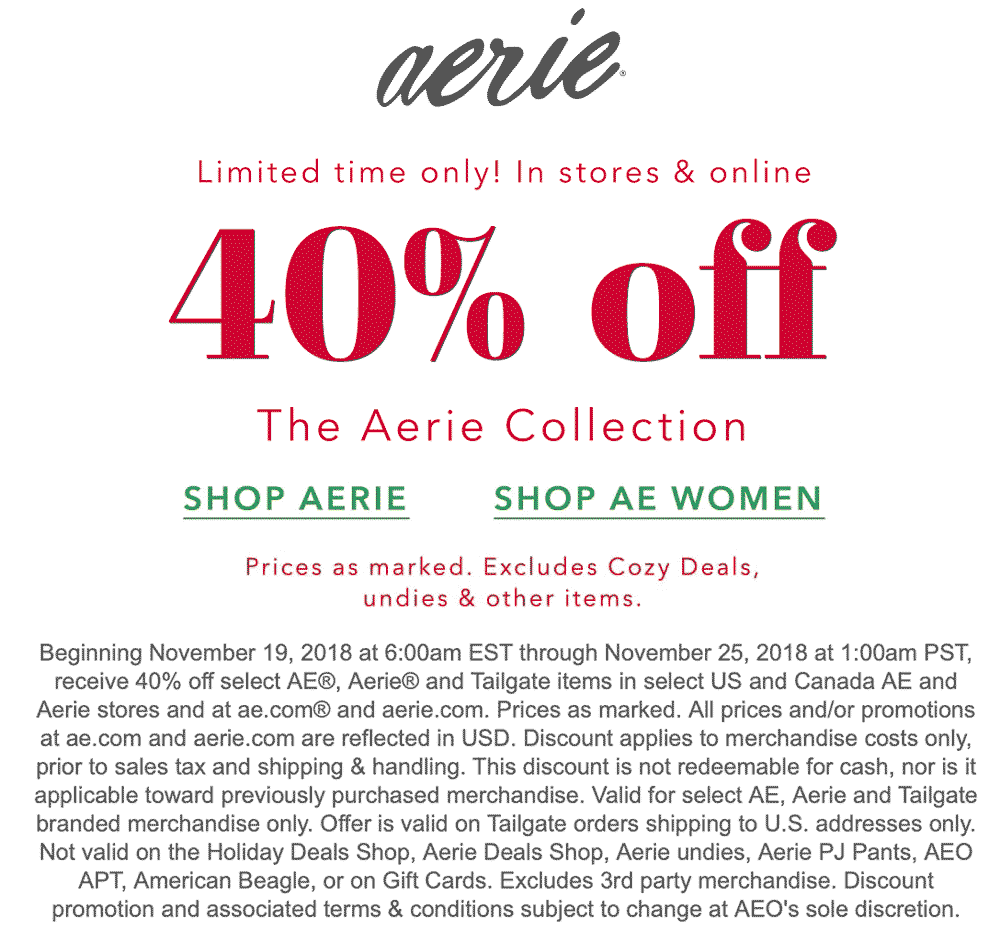 Aerie Coupon August 2020 40% off the collection at Aerie, ditto online