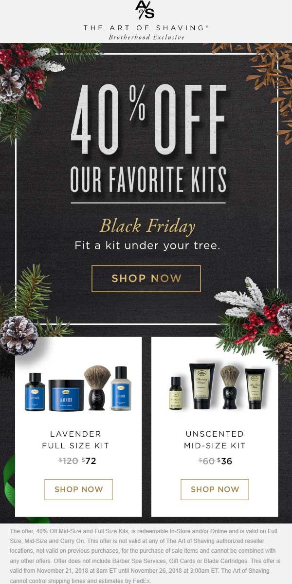 The Art of Shaving Coupon August 2020 40% off kits at The Art of Shaving, ditto online
