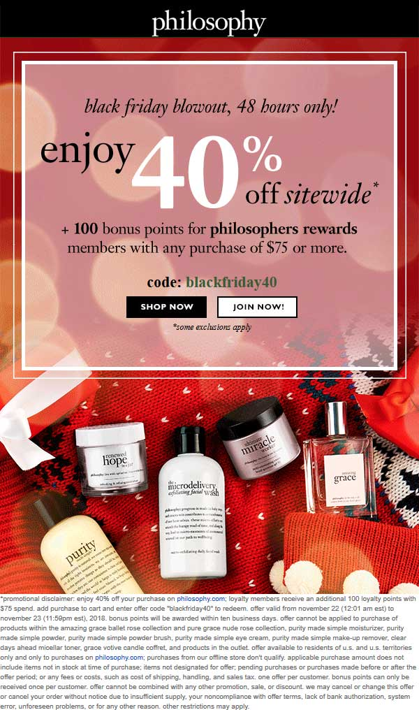 Philosophy Coupon August 2020 40% off everything online at Philosophy via promo code blackfriday40