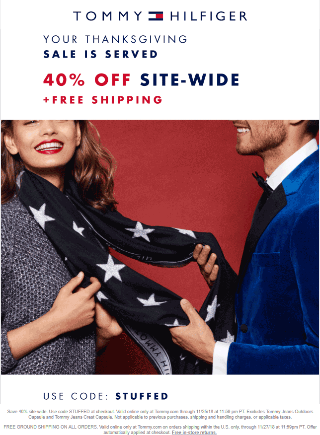 Tommy Hilfiger Coupon August 2020 40% off online at Tommy Hilfiger via promo code STUFFED
