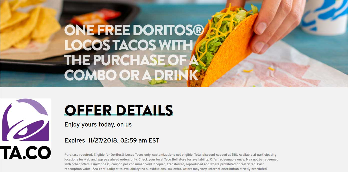 Taco Bell coupons & promo code for [April 2020]