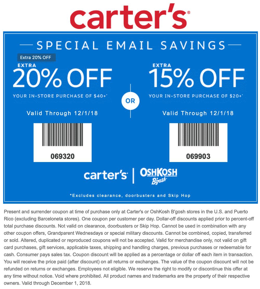 Carters Coupon May 2020 15-20% off $20+ at Carters & OshKosh Bgosh