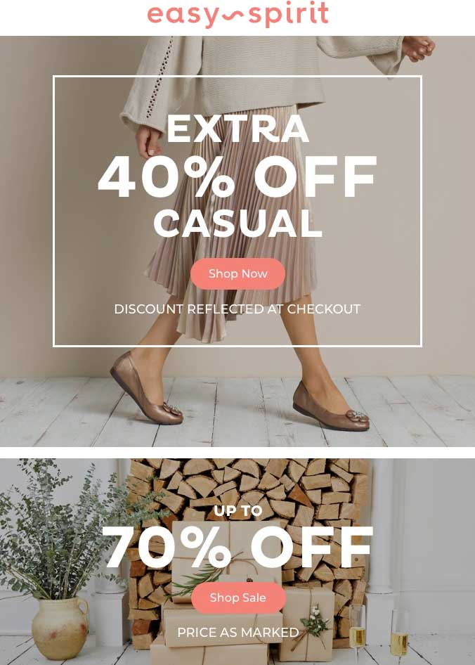 Easy Spirit Coupon July 2020 Extra 40-70% off at Easy Spirit, ditto online