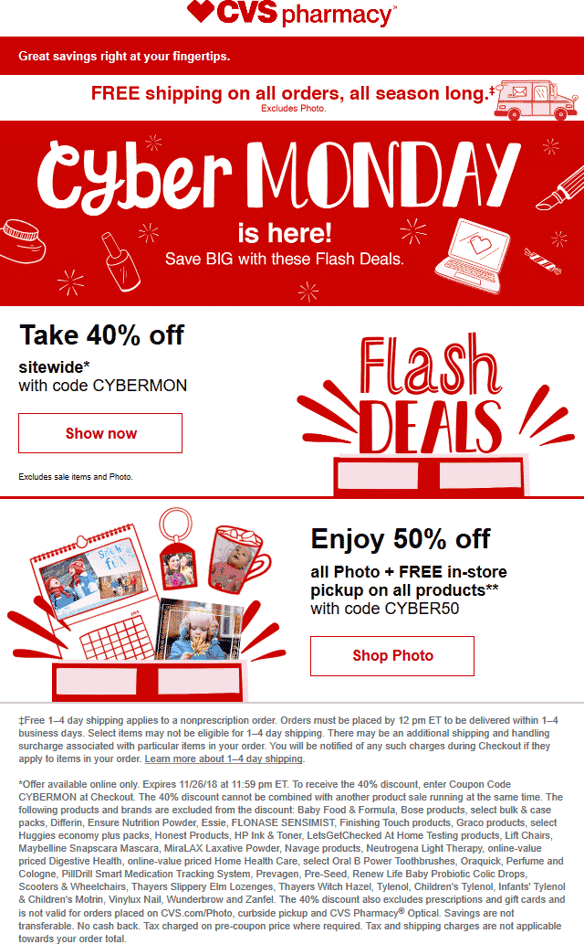 CVS Pharmacy Coupon May 2020 40% off everything online at CVS Pharmacy via promo code CYBERMON