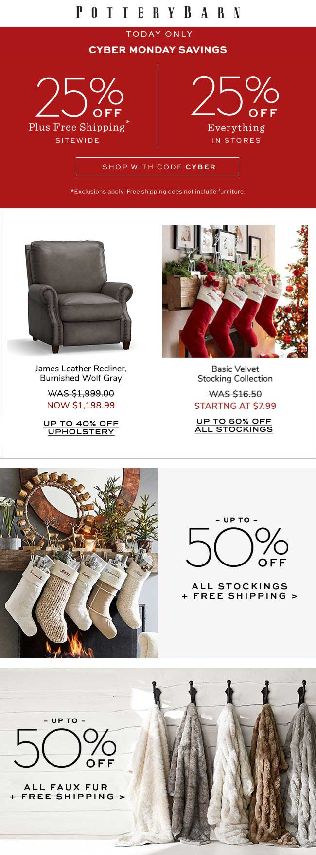 Pottery Barn Coupon July 2020 25% off everything today at Pottery Barn, or online via promo code CYBER