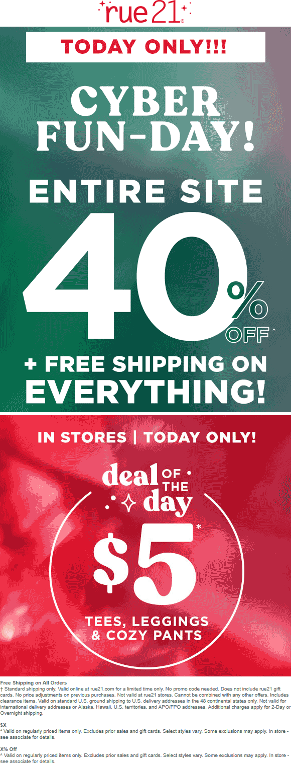 Rue21 Coupon May 2020 40% off everything online today at rue21