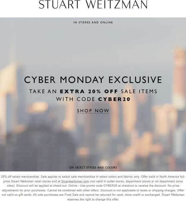 Stuart Weitzman Coupon February 2020 Extra 20% off sale items online today at Stuart Weitzman via promo code CYBER20