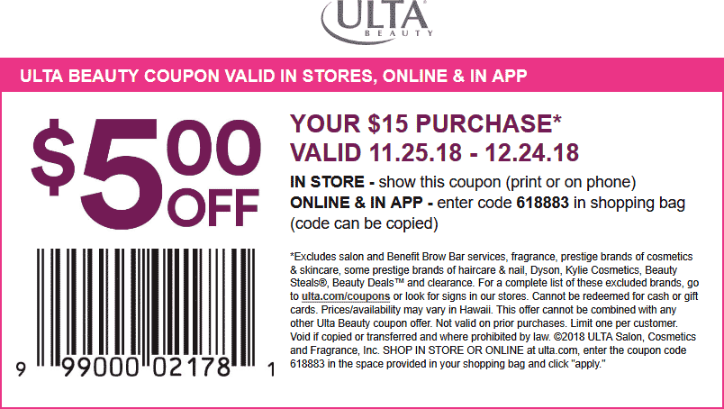Ulta Beauty Coupon May 2020 $5 off $15 at Ulta Beauty, or online via promo code 618883