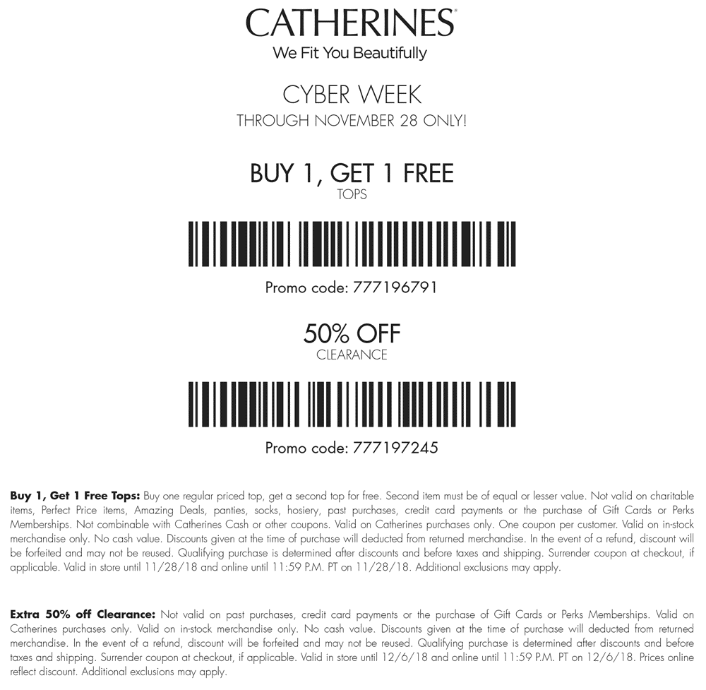 Catherines Coupon May 2020 Second top free + 50% off clearance today at Catherines, or online via promo code 777196791