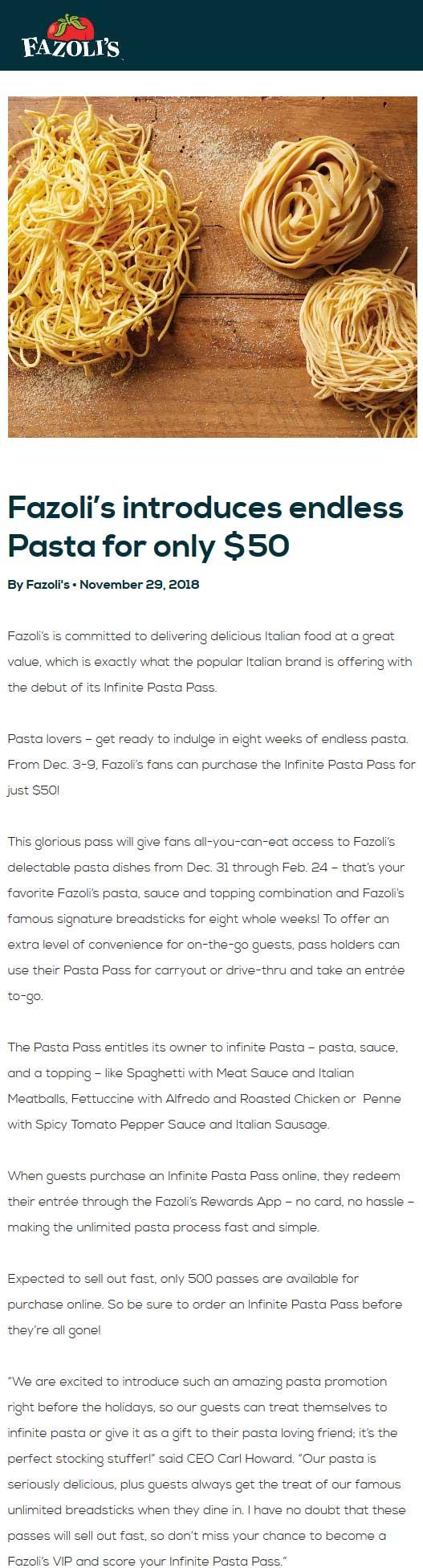 Fazolis coupons & promo code for [April 2020]