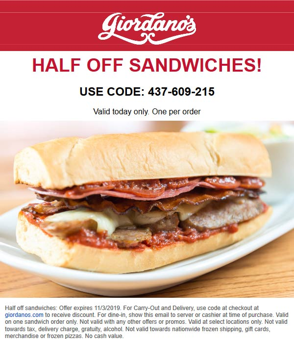 Giordanos coupons & promo code for [July 2020]