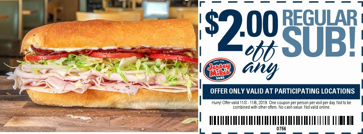 Jersey Mikes coupons & promo code for [April 2020]