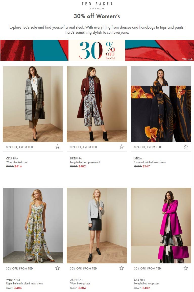 Ted Baker coupons & promo code for [April 2021]
