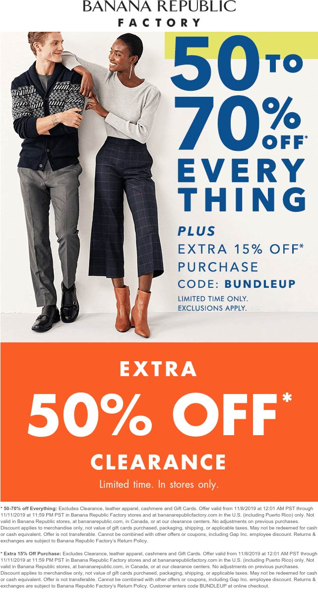 Banana Republic Factory coupons & promo code for [April 2021]