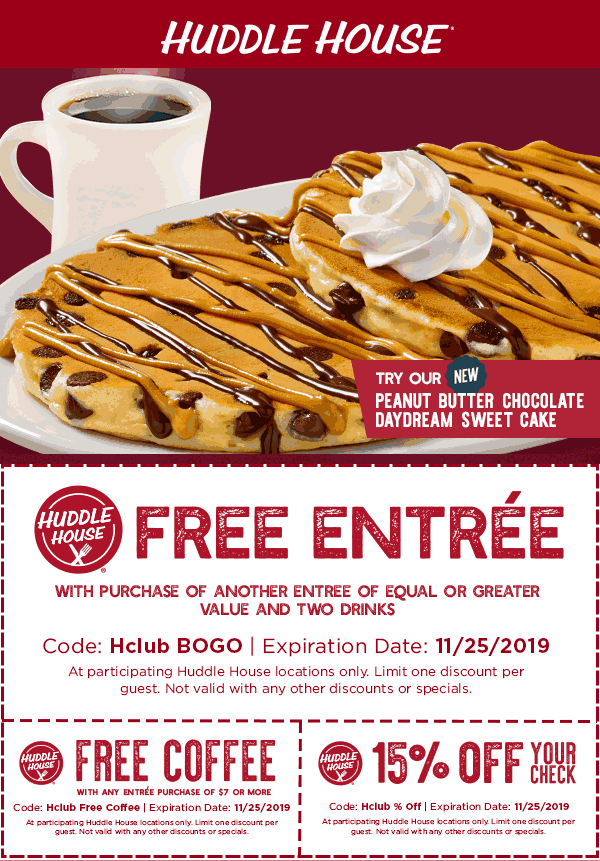 Huddle House coupons & promo code for [August 2020]