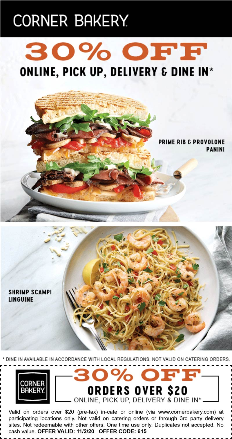Corner Bakery restaurants Coupon  30% off today at Corner Bakery cafe #cornerbakery