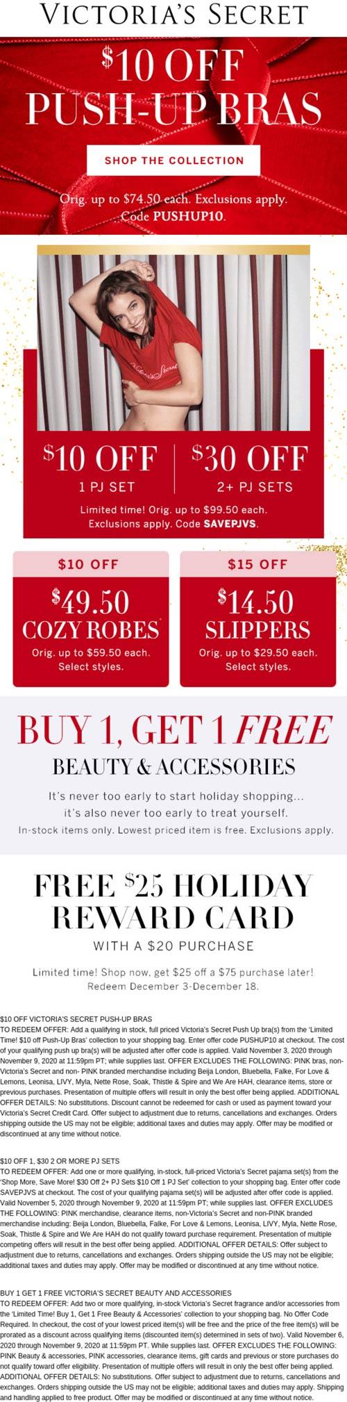 Victorias Secret stores Coupon  Second beauty free, $10 off push up bras, PJ sets & more at Victorias Secret via promo code SAVEPJVS #victoriassecret