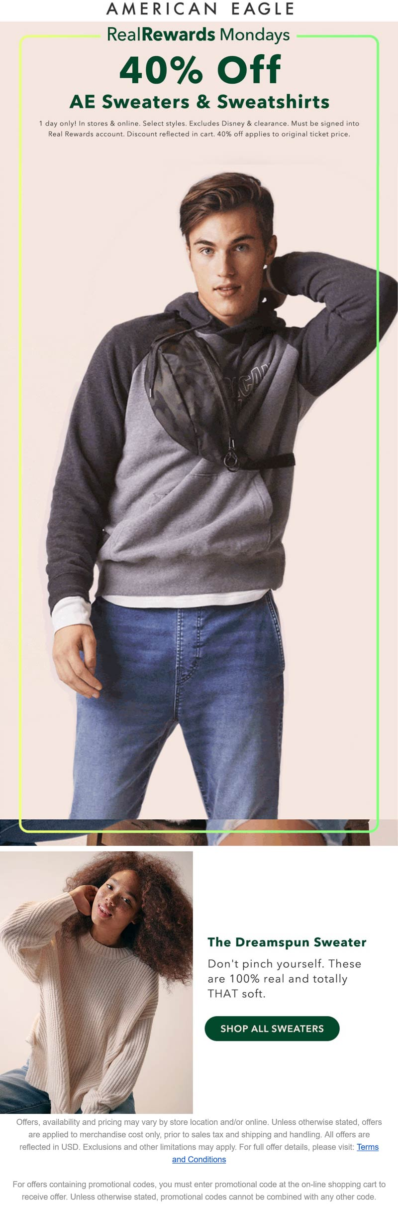 American Eagle stores Coupon  40% off sweaters & sweatshirts today at American Eagle, ditto online #americaneagle