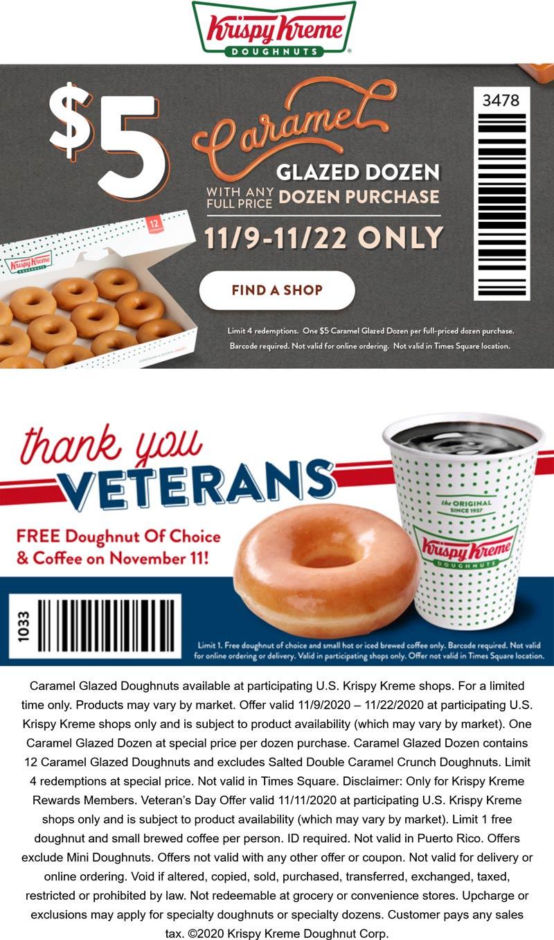 Krispy Kreme restaurants Coupon  $5 caramel glazed dozen doughnuts thru 22nd + free doughnut & coffee for veterans the 11th at Krispy Kreme #krispykreme