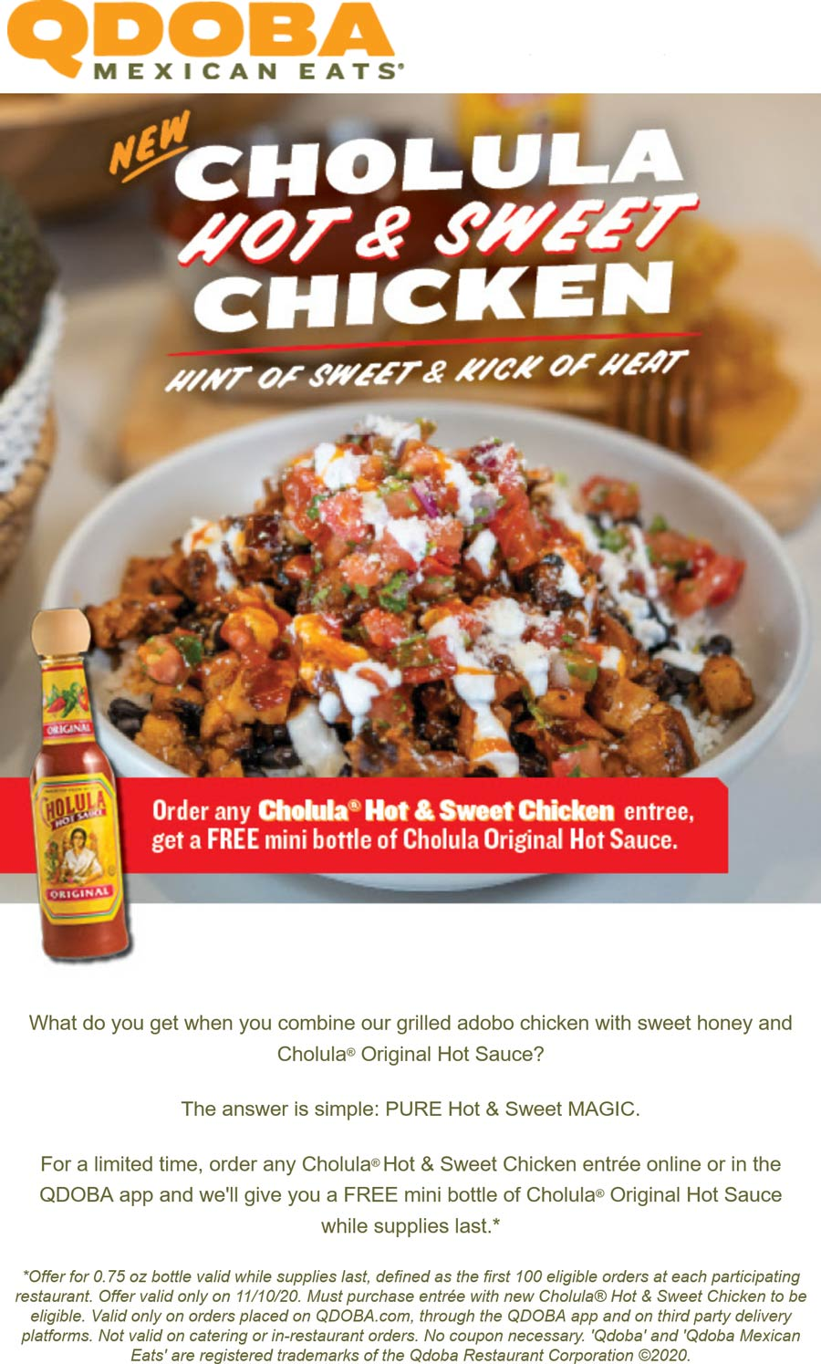 Qdoba restaurants Coupon  Free bottle of Cholula with your hot & sweet chicken entree today at Qdoba Mexican Eats #qdoba