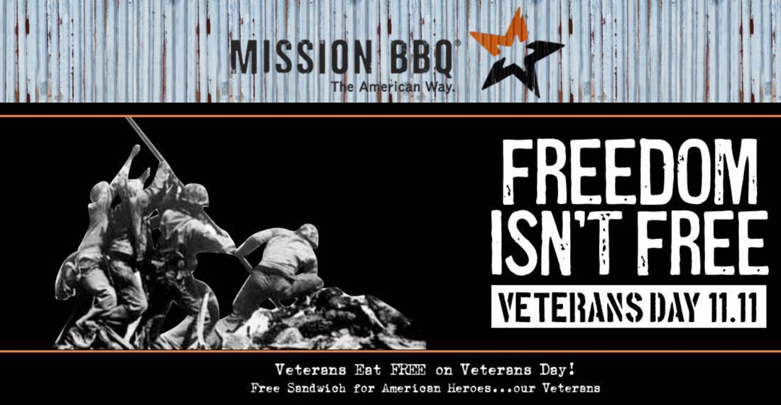 Mission BBQ restaurants Coupon  Veterans get a free sandwich today at Mission BBQ #missionbbq
