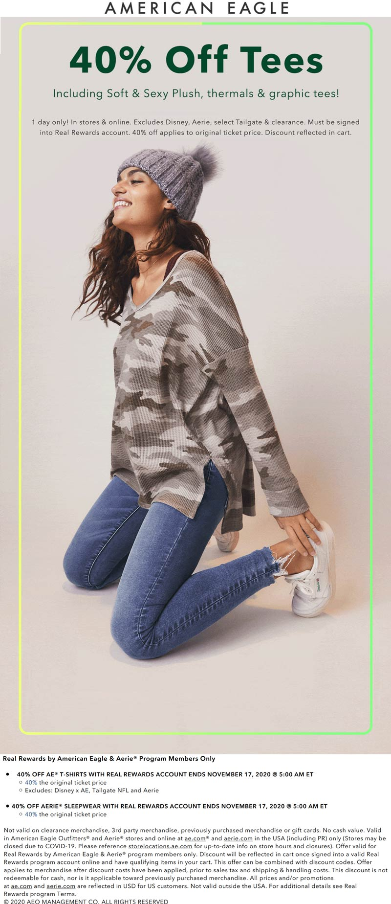 American Eagle stores Coupon  40% off AE t-shirts & Aerie sleepwear today at American Eagle, ditto online #americaneagle