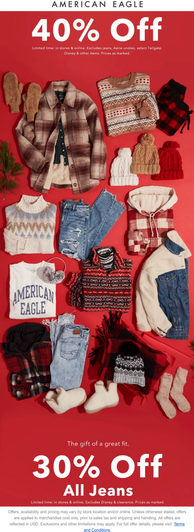 American Eagle stores Coupon  40% off at American Eagle, ditto online #americaneagle